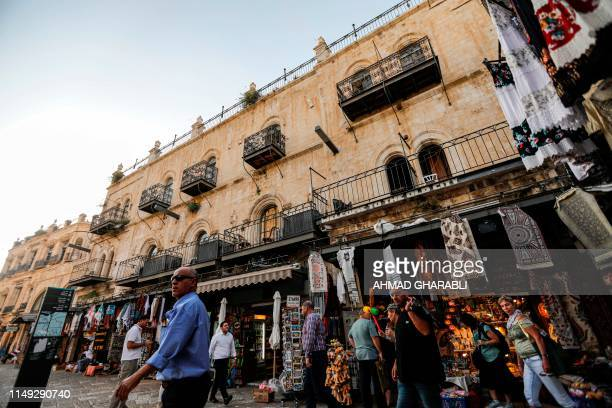 This picture taken on June 11, 2019 shows a view of the Petra hostel in the Old City of Jerusalem near the Jaffa Gate. - Israel's top court gave...