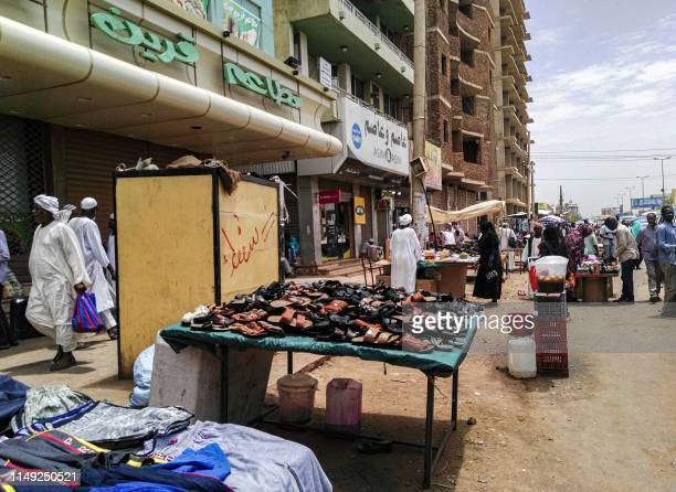 This picture taken on June 11 2019 shows a view of vendors stalls at a market in the Sudanese capital Khartoum
