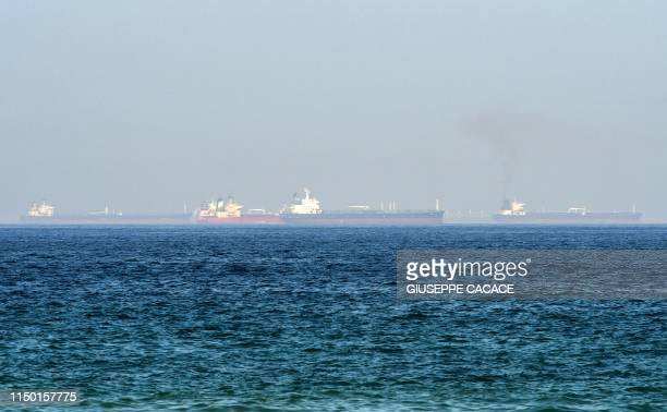 This picture taken on June 15 2019 shows tanker ships in the waters of the Gulf of Oman off the coast of the eastern UAE emirate of Fujairah