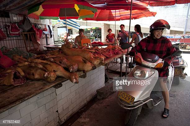 This picture taken on June 17 2015 shows people talking before a stall that sells dog meat in Yulin south China's Guangxi province People from Yulin...
