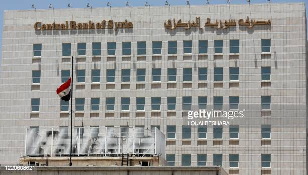This picture taken on June 17, 2020 shows a view of the facade of the Central bank of Syria in the capital Damascus' Sabaa Bahrat Square.