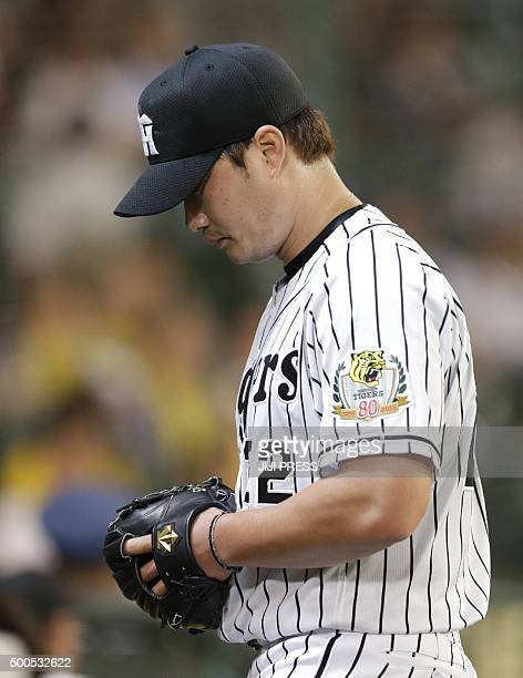 This picture taken on June 2 2015 shows South Korean pitcher Oh SeungHwan of Japan's Hanshin Tigers during a baseball match in the Nippon...