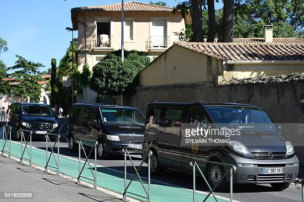 This picture taken on June 20 2016 in Pezenas southern France shows the funeral convoy carrying French policeman JeanBaptiste Salvaing and his...