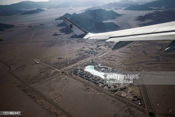 This picture taken on June 20, 2020 shows an aerial view of the City Stars Sharm el-Sheikh leisure resort near Egypt's Red Sea resort city of Sharm...