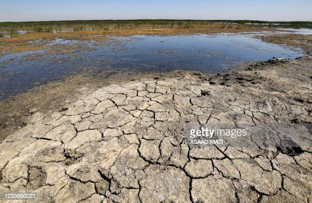 This picture taken on June 20, 2021 shows a view of drying earth in the Chibayesh marshland in Iraq's southern Ahwar area. - As Iraq bakes under a...