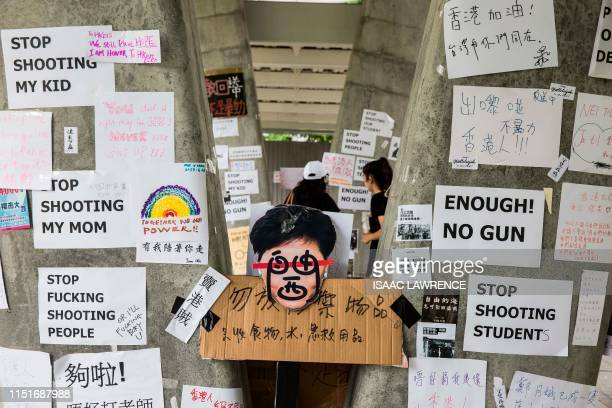 TOPSHOT This picture taken on June 22 2019 shows posters posted by protesters after demonstrations against a China extradition law in Hong Kong Viral...