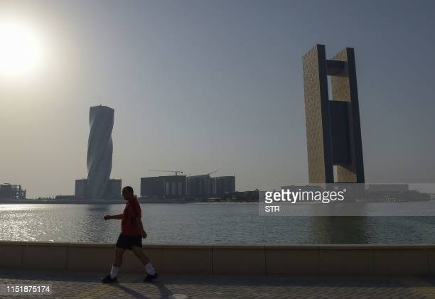 This picture taken on June 25 2019 shows a general view of the Four Seasons Hotel in the Bahraini capital Manama where the Peace to Prosperity...
