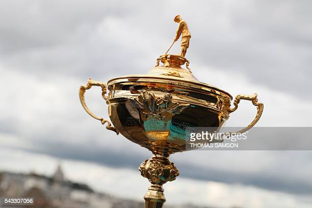This picture taken on June 27 2016 in Paris shows the Ryder's Cup Trophy AFP and FFG have signed on June 25 2015 a partnership ahead of the Ryder Cup...