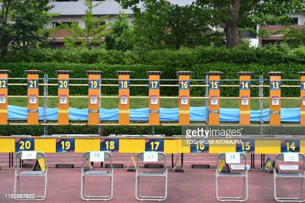 This picture taken on June 28, 2019 shows a general view of the shooting area at the AGF field at the Musashino Forest Sport Plaza during the UIPM...