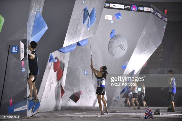 This picture taken on June 3 2018 shows Japanese Olympic medal hope Akiyo Noguchi during the Climbing World Cup women's bouldering competition in...