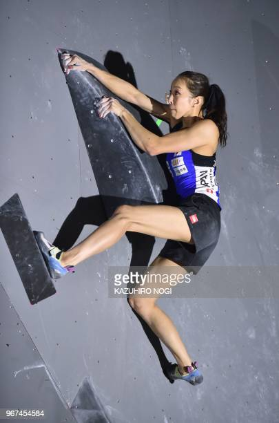 This picture taken on June 3 2018 shows Japanese Olympic medal hope Akiyo Noguchi competing at the Climbing World Cup women's bouldering competition...