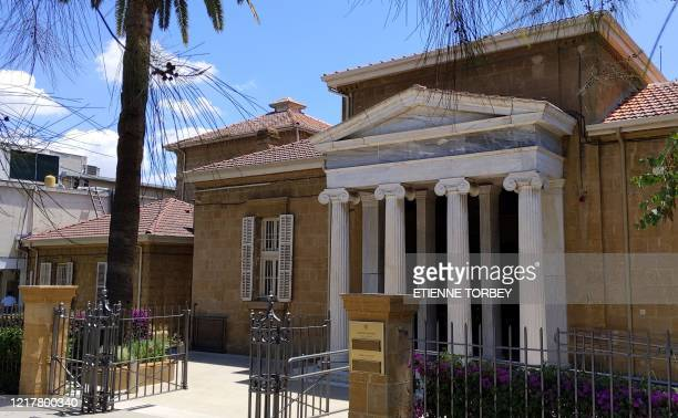 This picture taken on June 3, 2020 shows a view of the entrance of the Cyprus Museum in the Cypriot capital Nicosia. - Cyprus opens back up for...