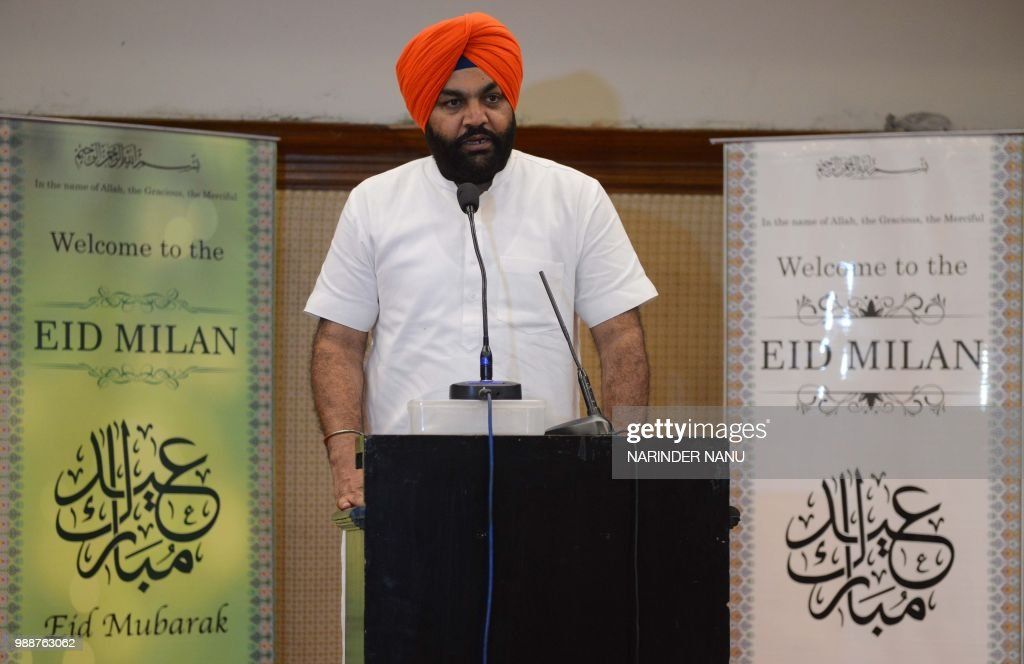 This picture taken on June 30 2018 Indian Member of Parliament Gurjeet Singh Aujla speaks during `Eid Milan` event in Amritsar