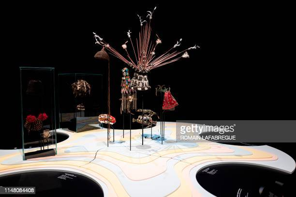 """This picture taken on June 4, 2019 shows headdresses from the exhibition """"Headdresses from around the World"""" a donation of the French collector..."""