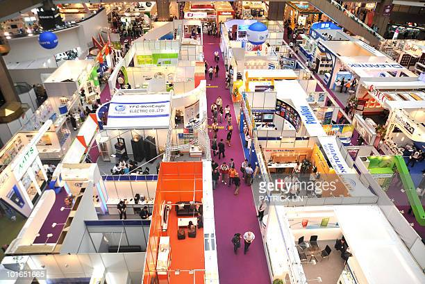 This picture taken on June 4 shows an overall view of an exhibition venue of Computex Taipei at the Taipei World Trade Centre. If Asia's largest IT...
