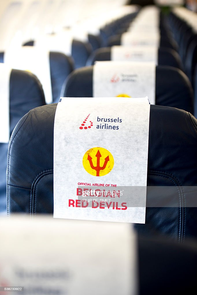 This picture taken on June 5, 2016 shows the seats inside the Red Devils airplane of Brussels Airlines presented to some 500 fans of the Belgian national soccer team at Brussels airport in Zaventem. / AFP / BELGA / FILIP DE SMET / Belgium OUT