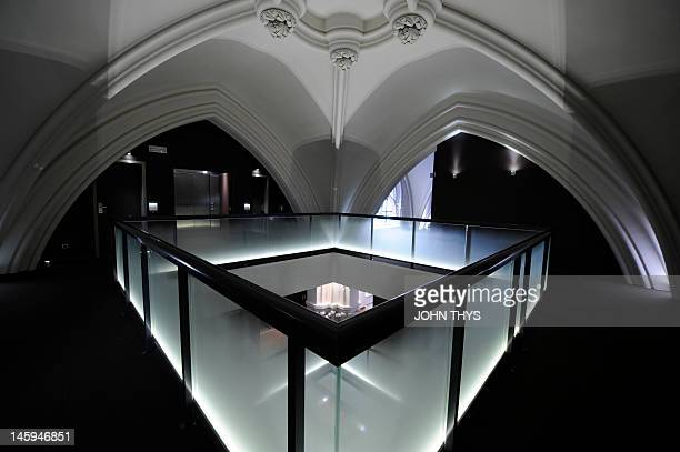 This picture taken on June 6 2012 shows the interior of the boutique hotel at the converted SainteCatherine church in Brussels AFP PHOTO/JOHN THYS