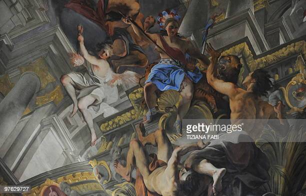 This picture taken on March 10 2010 in St Ignazio church in Rome shows an illustionistic perspective painting by Italian baroque painter Andrea Pozzo...
