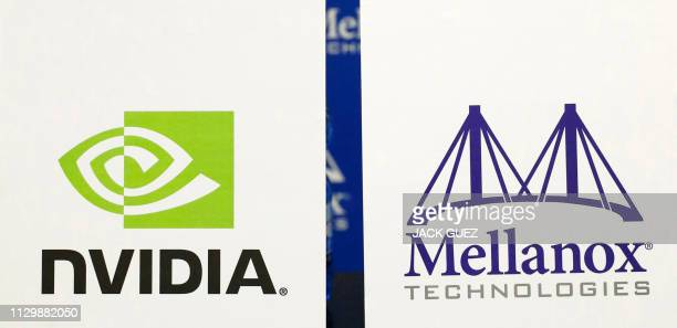 This picture taken on March 11, 2019 in the Israeli coastal city of Tel Aviv shows the logo of Israeli electronics chip-maker Mellanox and US tech...