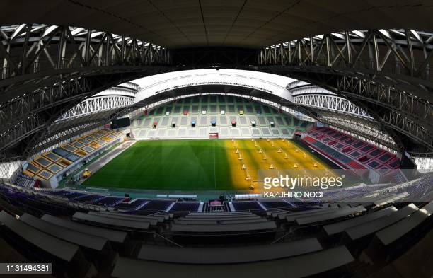 This picture taken on March 12, 2019 shows a general view of Kobe Misaki Stadium, one of the venues for the 2019 Rugby World Cup, in Kobe, Hyogo...
