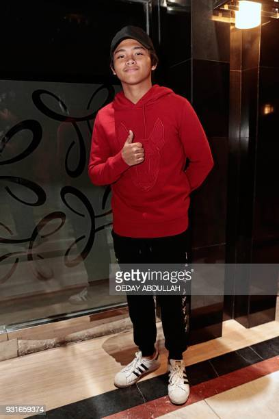 This picture taken on March 13 2018 shows actor Alvaro Maldini Siregar posing during a promotional event in Jakarta / AFP PHOTO / Oeday Abdullah