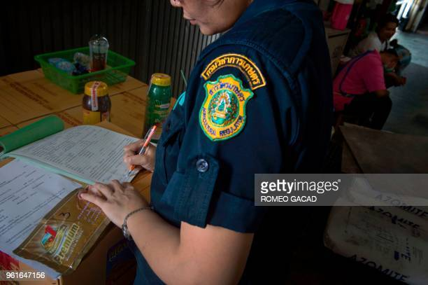 This picture taken on March 13 2018 shows police and Ministry of Agriculture personnel inspecting alleged fake pesticides seized during a raid in a...