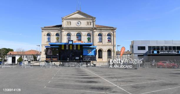 This picture taken on March 13, 2020 shows the empty square prior the start of the 161,5 km, 6th stage of the 78th Paris - Nice cycling race stage...