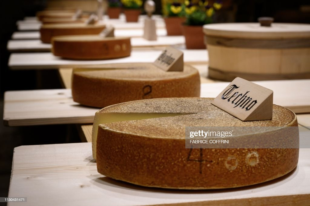 This picture taken on March 14, 2019 shows a round of cheese
