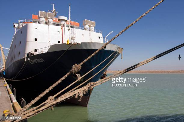 This picture taken on March 14, 2021 shows a view of the Lebanon-flagged livestock carrier vessel Elevation, moored at the port of Umm Qasr, south of...