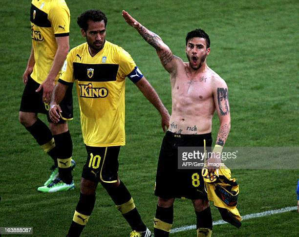 This picture taken on March 16 2013 shows Giorgos Katidis celebrating a goal with a Nazi salute during a Greek Superleague football game in Athens...