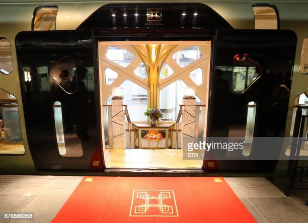 This picture taken on March 16 2017 shows an entrance of the Train Suite ShikiShima operated by East Japan Railway in Tokyo during a press preview...