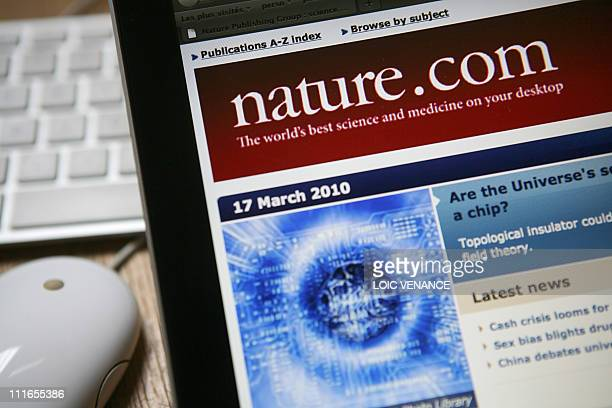 This picture taken on March 17, 2010 in Paris shows the internet homepage of the US scientific magazine Nature. AFP PHOTO LOIC VENANCE