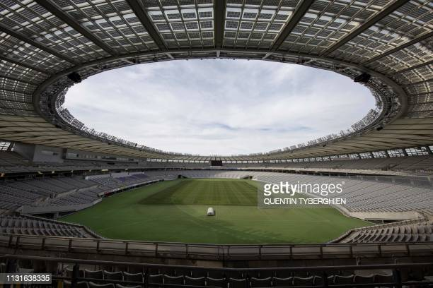 This picture taken on March 19, 2019 shows the Tokyo Stadium, one of the venues for the 2019 Rugby World Cup, in Tokyo.