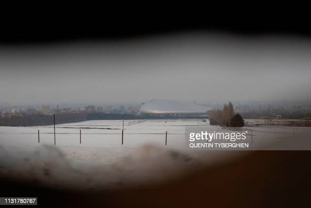 TOPSHOT This picture taken on March 20 2019 shows the Sapporo Dome one of the venues for the 2019 Rugby World Cup in Sapporo Hokkaido Prefecture