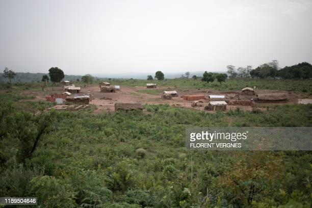 This picture taken on March 2019 shows the former site of the internally displaced persons camp called 'Sangaris', in Bambari, Central African...