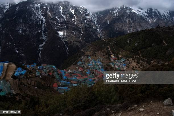 This picture taken on March 2020 shows a general view of Namche Bazaar, the last stop before base camp in the shadow of the world's tallest mountain...