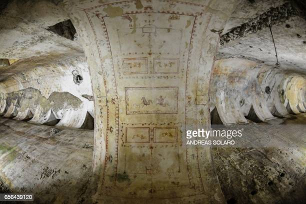 This picture taken on March 22 2017 shows detail in the walls of one of the rooms of the Domus Aurea a large palace built by the Roman Emperor Nero...