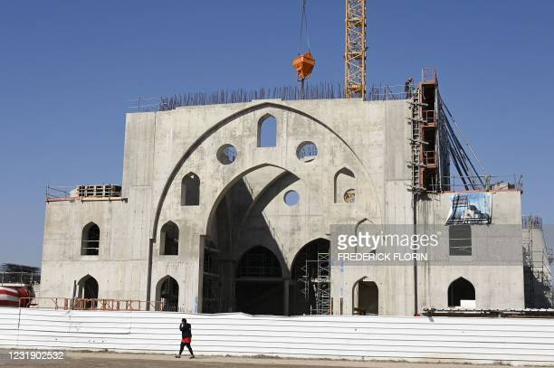 This picture taken on March 24, 2021 shows the construction site of the Eyyub Sultan Mosque in Strasbourg two days after the city council of...