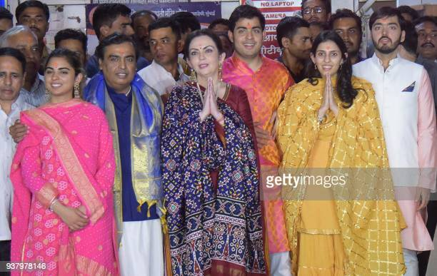 This picture taken on March 25 2018 shows Indian business magnate chairman managing director and largest shareholder of Reliance Industries Limited...