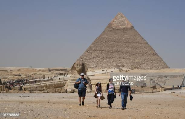 This picture taken on March 25 shows the Pyramid of Khafre at the Giza pyramids complex on the southwestern outskirts of the Egyptian capital Cairo /...