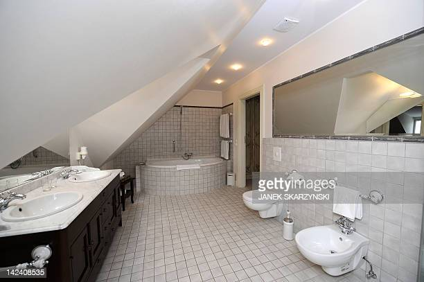 This picture taken on March 29 2012 shows a bathroom in the Dwor Oliwski hotel in Gdansk where the German national football team will be based for...