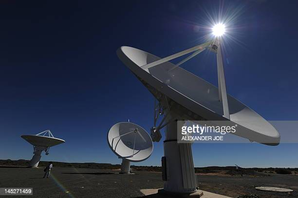 This picture taken on March 30, 2010 shows the Karoo Array Telescope construction site, part of the MeerKAT Project, in the Northern Cape. Australia...