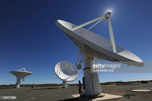 This picture taken on March 30 2010 shows the Karoo Array Telescope construction site part of the MeerKAT Project in the Northern Cape Australia and...