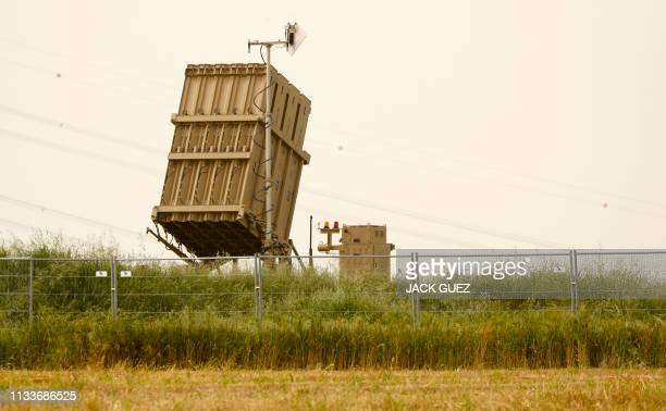 This picture taken on March 30, 2019 shows an Iron Dome defence system battery, designed to intercept and destroy incoming short-range rockets and...