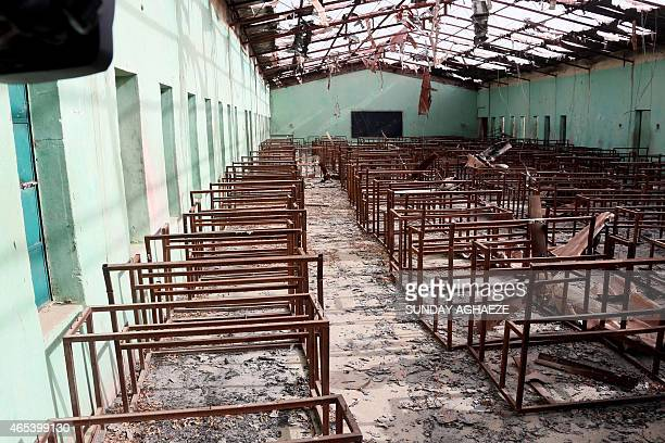 This picture taken on March 5 2015 shows a view of the burntout classrooms of a school in Chibokin Northeastern Nigeria from where Boko Haram...