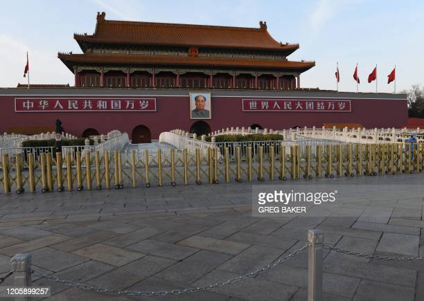 This picture taken on March 7, 2020 shows the portrait of late communist leader Mao Zedong displayed at Tiananmen Gate in Beijing.