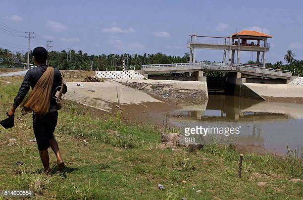 This picture taken on March 8 2016 shows a farmer walking past an antisalinity dam on an canal where water levels have dropped in the Long Phu...