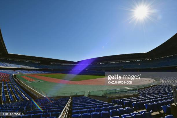 TOPSHOT This picture taken on March 8 2019 shows the Yokohama International Stadium one of the venues for 2019 Rugby World Cup in Yokohama