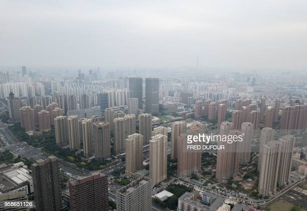 This picture taken on May 10 2018 shows an aerial view of residential buildings in Tianjin