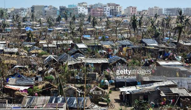 TOPSHOT This picture taken on May 10 2019 shows a general view of Puri in the eastern Indian state of Odisha after the passage of cyclone Fani At...